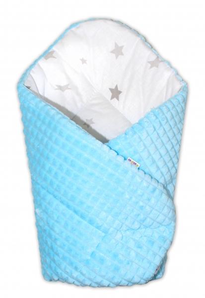 Obojstranná zavinovačka 75x75cm Baby Nellys, hviezdičky sivé /Minky kostička modrá
