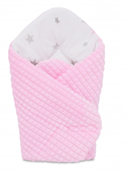Obojstranná zavinovačka 75x75cm Baby Nellys, hviezdičky sivé /Minky kostička ružová