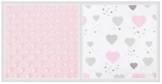 2-dielne bavlnené obliečky s Minky Baby Nellys - srdiečka, ružová /ružová, 120x90 cm