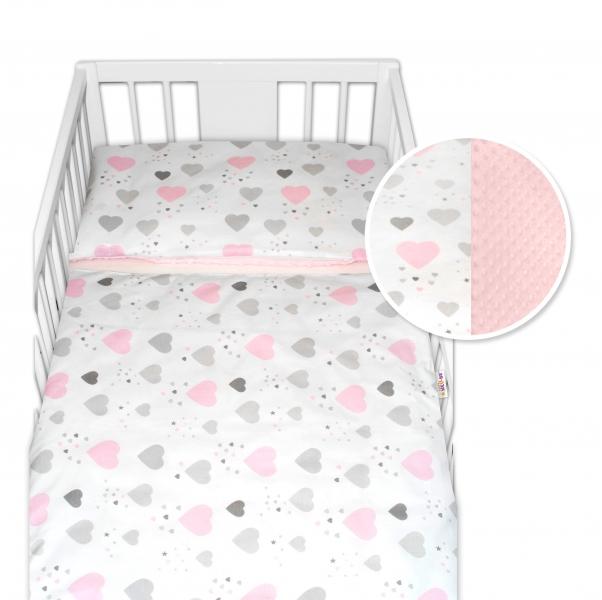 2-dielne bavlnené obliečky s Minky Baby Nellys - srdiečka, ružová /ružová