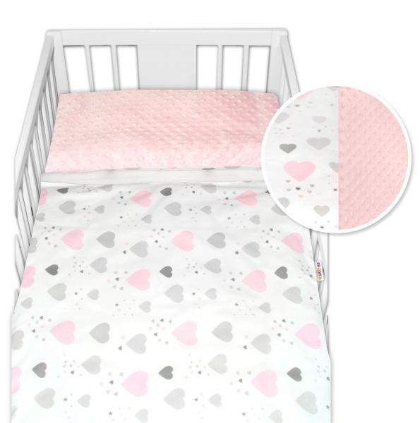 2-dielne bavlnené obliečky s Minky Baby Nellys - srdiečka, ružová /ružová, veľ. 135x100cm