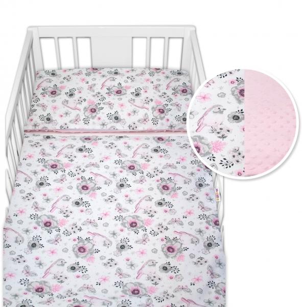 2-dielne bavlnené obliečky s Minky Baby Nellys - vtáčiky, ružová /ružová