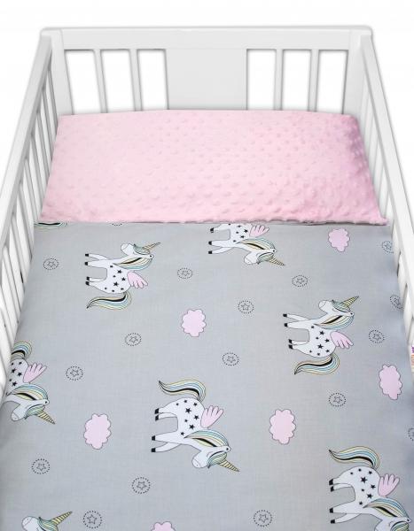 2-dielne bavlnené obliečky s Minky Baby Nellys - jednorožec, ružová /šedá, 135x100 cm