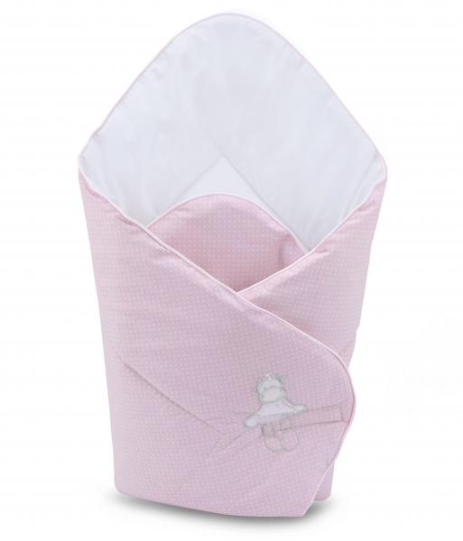 Novorodenecká zavinovačka 75x75cm Baby Nellys s výšivkou, ružová