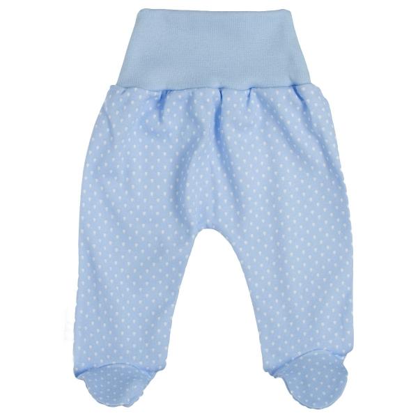 Baby Bavlnené polodupačky Kvapôčky - modrá
