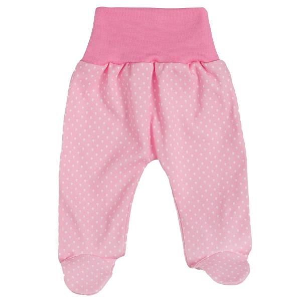 Baby Bavlnené polodupačky Kvapôčky - ružové, vel. 68