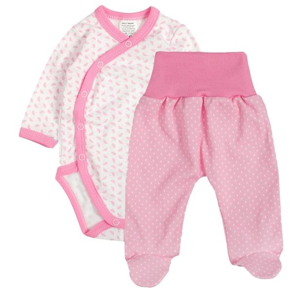 Baby 2 - dielna súpravička body dl. rukáv + polodupačky - Dáždniky, ružová, veľ. 56