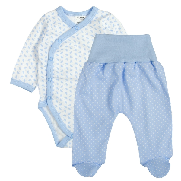 Baby 2 - dielna súpravička body dl. rukáv + polodupačky - Dáždniky, modrá, veľ. 68