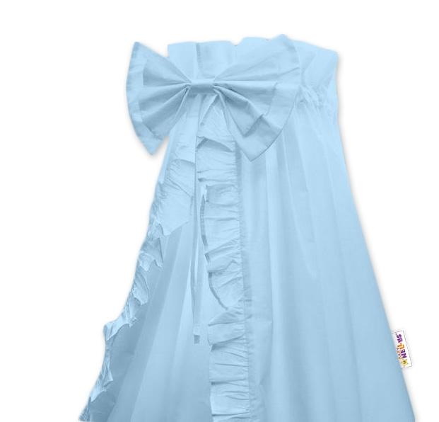 Nebesá z celej látky s volánikom a mašľou Baby Nellys - modrá
