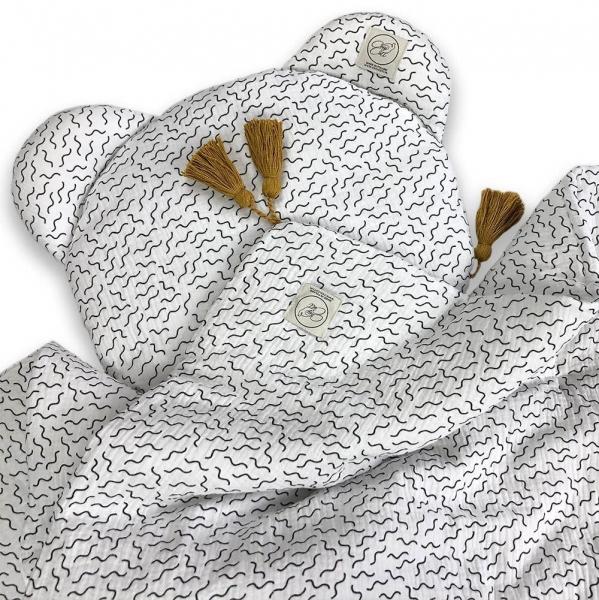 Cosy Cott Detská mušelínová 2 dielna súprava Vlny - biela