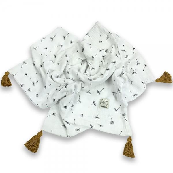 Cosy Cott Detská mušelínová zavinovacia deka 65x100 cm Púpavy - biela