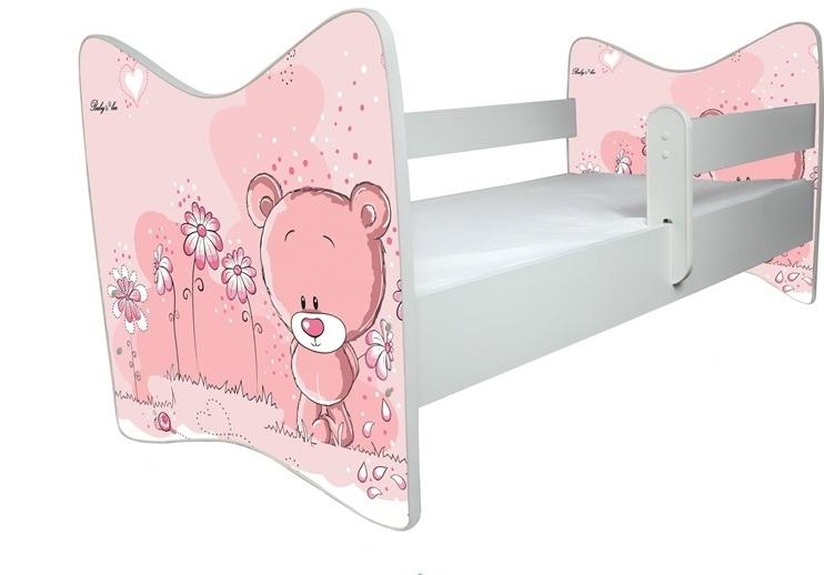 BabyBoo Detská postieľka Medvedik STYDLÍN ružový - D19 + ŠUPLÍK, 120x90 cm