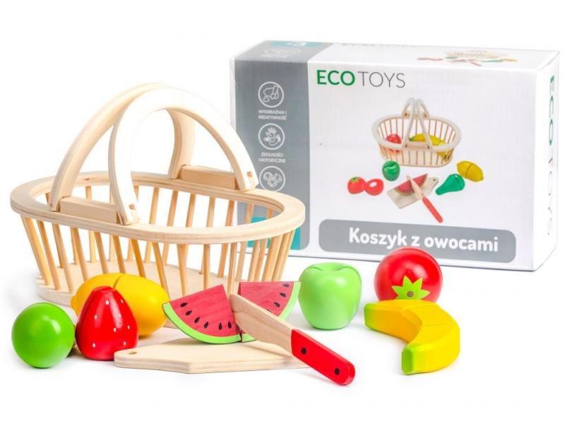 Drevený košík s ovociem ECO TOYS - 10 kusov