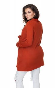 Tehotenský kardigan/sveter s opaskom - červený