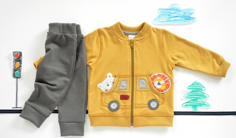K-Baby Sada triko / mikinka + tepláčky Autíčko - horčicová/tm. sivá, veľ. 62