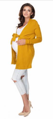 Tehotenský kardigan/sveter s opaskom - horčica