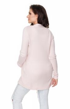 Tehotenský kardigan/sveter s opaskom - pudrová