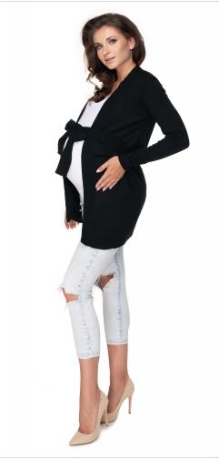 Tehotenský kardigan/sveter s opaskom - čierna