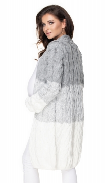 Tehotenský kardigan / sveter - sivý / krémový, vrkočový vzor