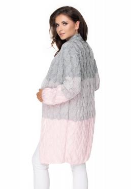Tehotenský kardigan / sveter - sivý / růžová, vrkočový vzor