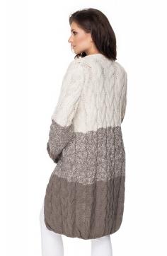 Tehotenský kardigan / sveter - sivý /béžový, vrkočový vzor