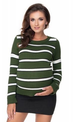Be Maamaa Tehotenský prúžkovaný svetrík - khaki