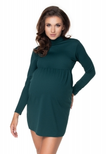 Be Maamaa Tehotenské mini šaty/tunika so stojačikom - zelené, veľ. S/M