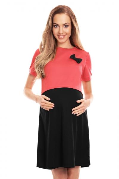 Be MaaMaa Tehotenská, dojčiaca nočná košeľa s mašličkou, kr. rukáv - červeno/čierna, veľ. L/XL