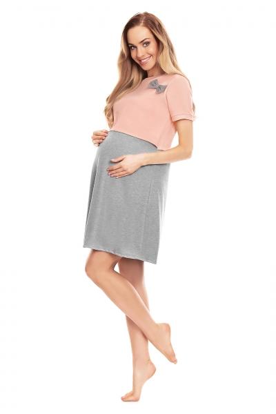 Tehotenská, dojčiaca nočná košeľa s mašličkou, kr. rukáv - růžovo/šedá