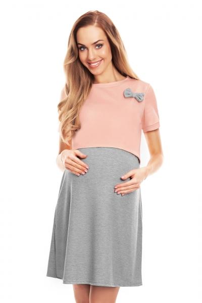 Be MaaMaa Tehotenská, dojčiaca nočná košeľa s mašličkou, kr. rukáv - ružovo/šedá, veľ. L/XL