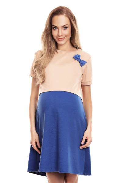 Be MaaMaa Tehotenská, dojčiaca nočná košeľa s mašličkou, kr. rukáv - béžovo/modrá, veľ. S/M