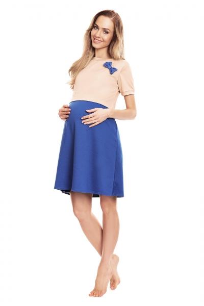 Tehotenská, dojčiaca nočná košeľa s mašličkou, kr. rukáv - béžovo/modrá