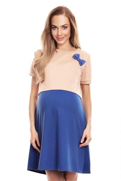 Be MaaMaa Tehotenská, dojčiaca nočná košeľa s mašličkou, kr. rukáv - béžovo/modrá, veľ. L/XL