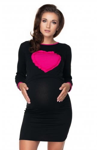 Be MaaMaa Tehotenská, dojčiaca nočná košeľa srdce, dl. rukáv - čierna, veľ. L/XL