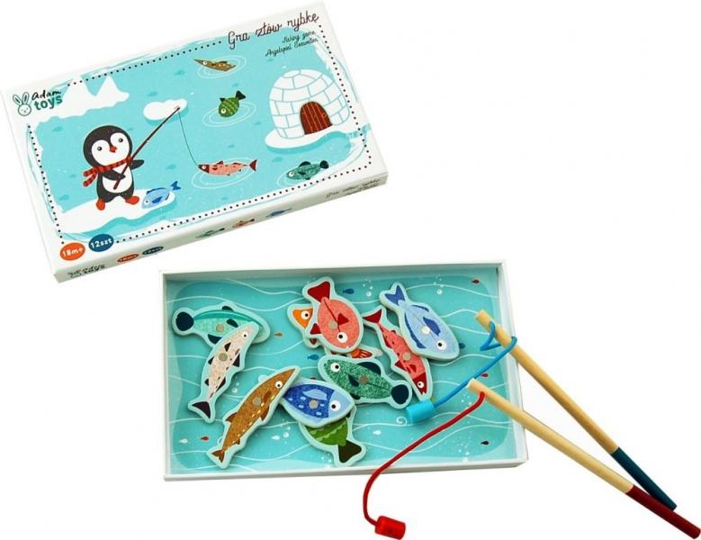 Adam Toys Drevená hra Tučniak na rybách