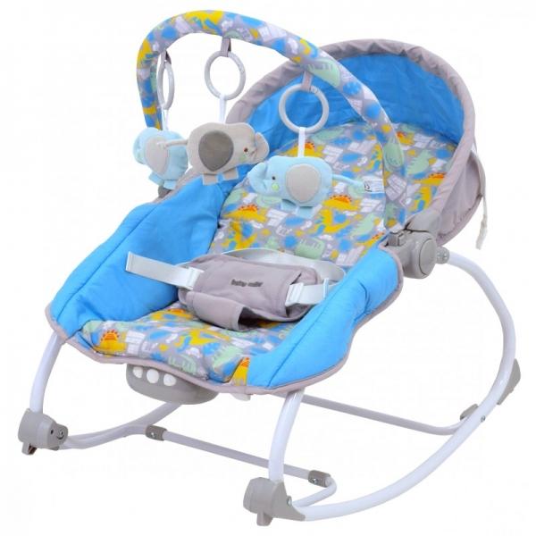 BABY MIX Lehátko pre dojčatá s vibrácií a hudbou - Dino - modré