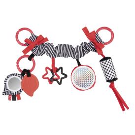 Canpol Babies Závesná plyšová hračka s rolničkou a zrkadlom Pastel Friends - červená