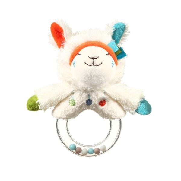 BabyOno Plyšová hračka s hrkálkou Lama Bob - biela
