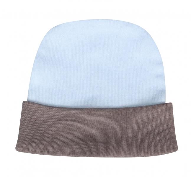 Mamatti Bavlnená čiapočka Little Man - sv. modrá/sivý lem, veľ. 68