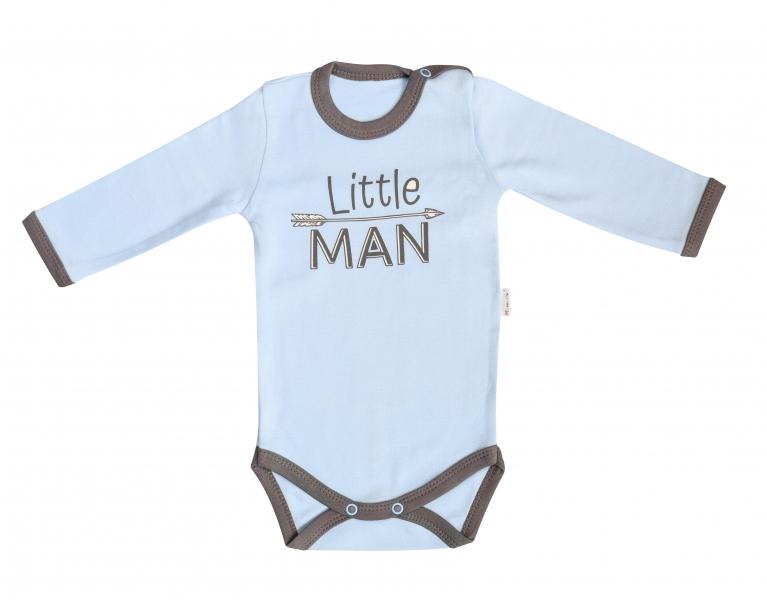 Mamatti Dojčenské body Little Man - dlhý rukáv, sv. modré