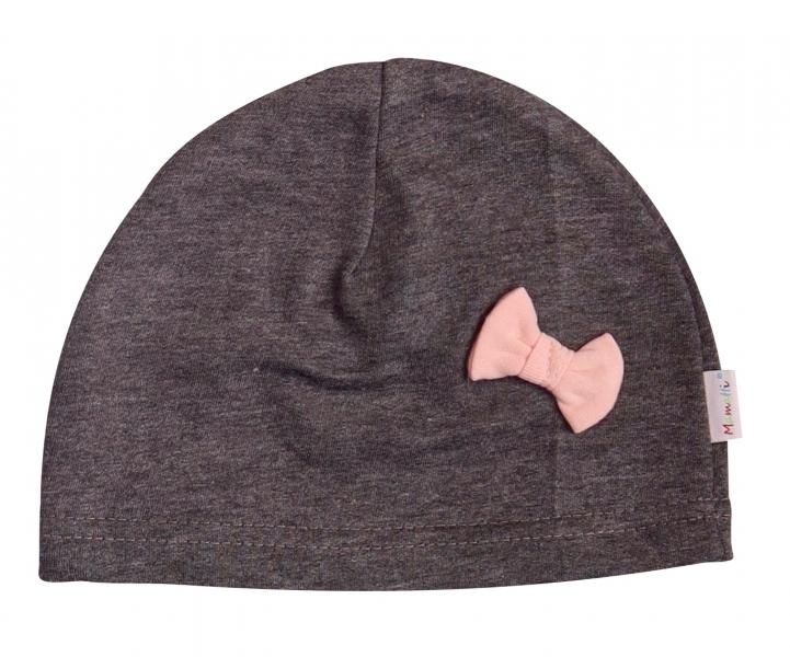 Mamatti Bavlnená čiapočka Cat - grafit-0-1rok