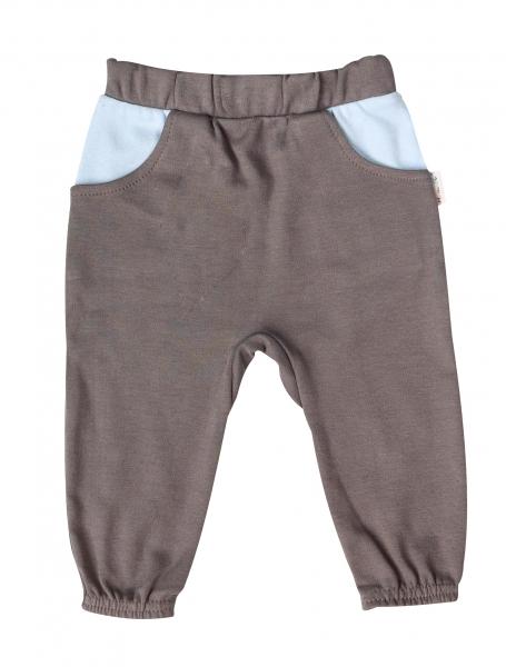 Kojenecké bavlnené tepláčky s vreckamii Little Man - sivé, veľ. 62