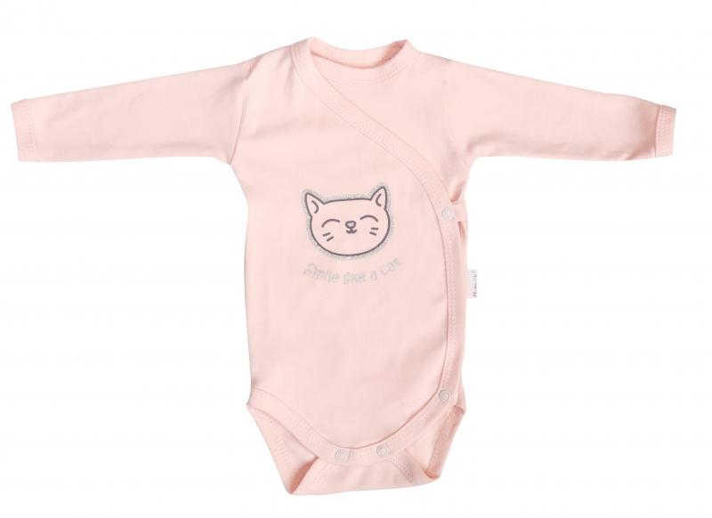 Mamatti Body Cat - dlhý rukáv - zapínanie bokom - ružové, veľ. 56