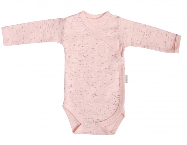 Mamatti Body Cat - dlhý rukáv - zapínanie bokom - ružové / žíhané, veľ. 56