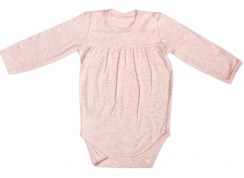 Mamatti Dojčenské body Cat - dlhý rukáv, ružové/žíhané