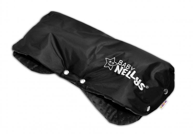 Rukávnik ku kočíku Baby Nellys ® Minky - čierná/čierny