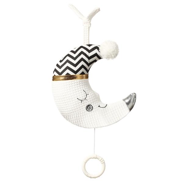 BabyOno Závesná plyšová hračka s melódiou Sleeping Moon - biela