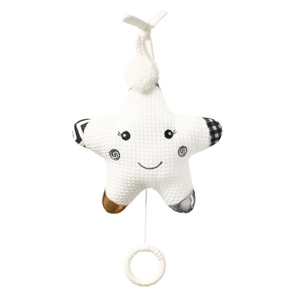 BabyOno Závesná plyšová hračka s melódiou Smiling Star - biela