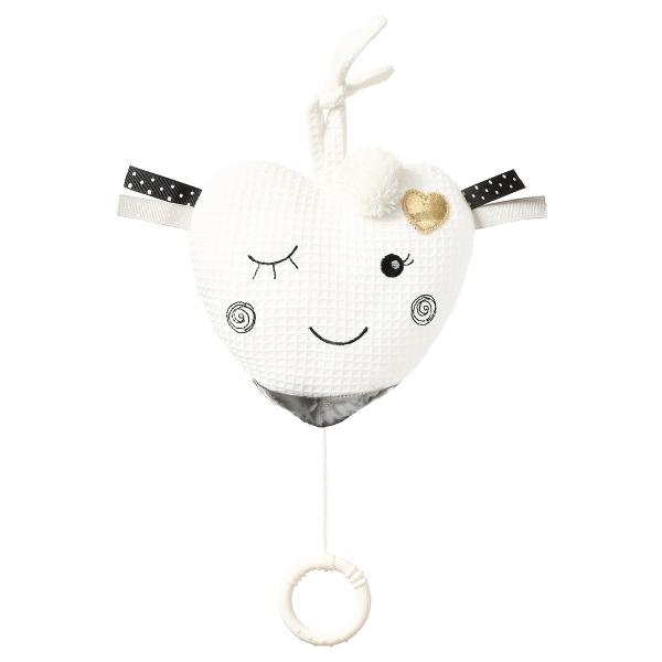 BabyOno Závesná plyšová hračka s melódiou Blinky Heart - biela