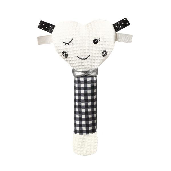 BabyOno Plyšová pískacia hračka Blinky Heart - biela